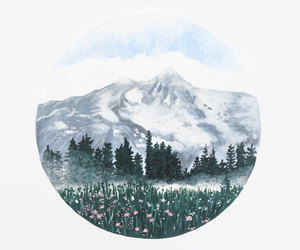 art, mountains, and watercolor image