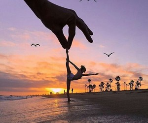 sunset, beach, and dance image