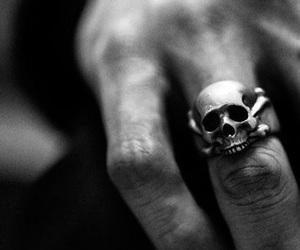 skull, ring, and hand image