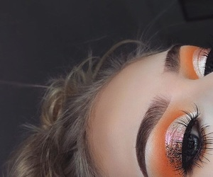 makeup, orange, and eyeshadow image