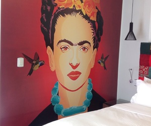 hotel, room, and fridakahlo image