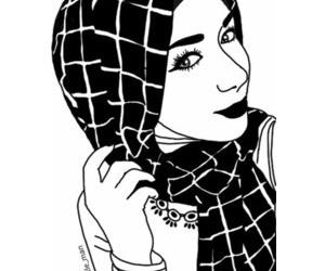 drawing, eyes, and hijab image
