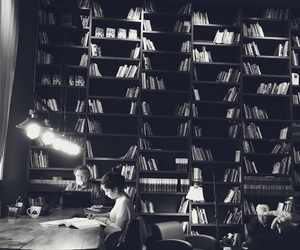 black and white, books, and bookshelf image