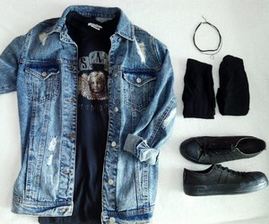 denim jacket, fashion, and girl image