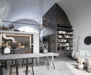 black, interior, and industrial image