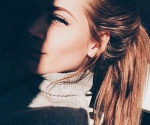 brunette, eyelashes, and girl image