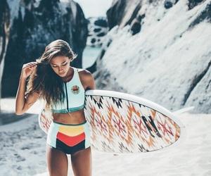 bikini, girl, and surfing image