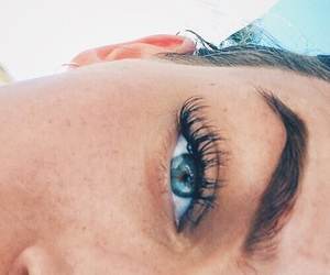 eyes, blue, and eyebrows image