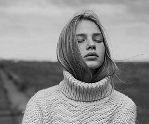 girl, black and white, and indie image