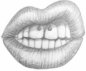 draw, lips, and piercing image