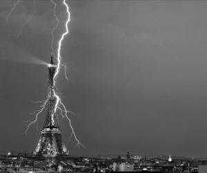paris, eiffel tower, and lightning image