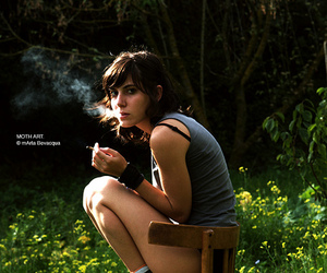 nature, smoke, and girl image