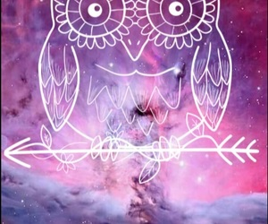 owl, space, and galaxy image