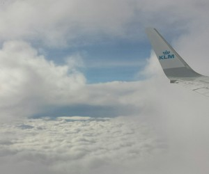 clouds, plane, and sky image