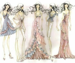 fashion, sketch, and dress image