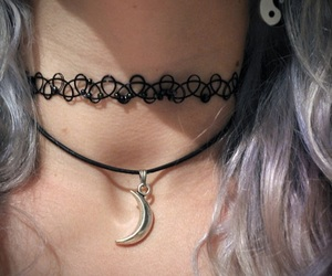grunge, moon, and necklace image
