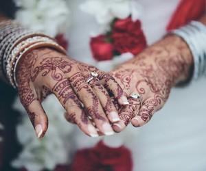 girls, hands, and mehndi image