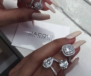 nails, diamond, and rings image