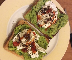 toast, guacamole, and poached eggs image