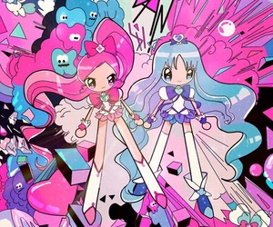 blue, pink, and precure image