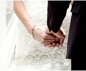 dress, holding hands, and wedding image