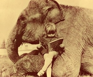 elephant, girl, and book image