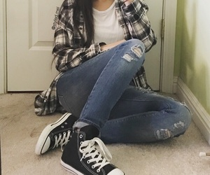 converse, flannel, and outfit image