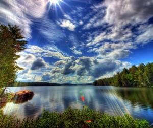 landscape, lake, and lights image