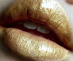 glitter, gold, and lips image