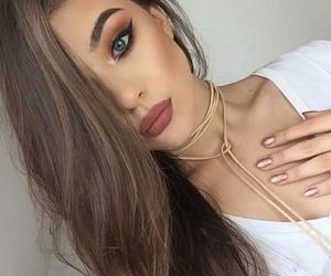 beauty, brunette, and eyeliner image
