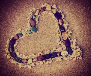 beach, heart, and stones image