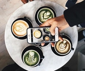 coffee, yellow and green, and fresh image