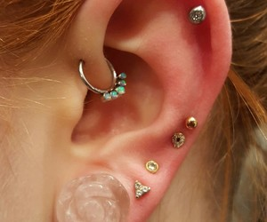 helix, Piercings, and streched ears image