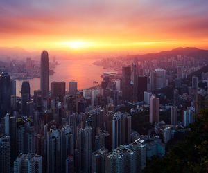 city, sunset, and hong kong image