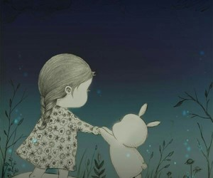bunny, little, and mushrooms image