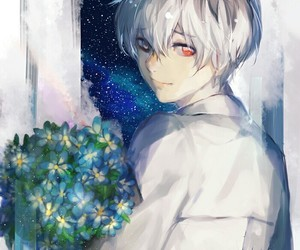 anime, flowers, and night image