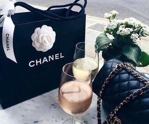 chanel, wine, and bag image