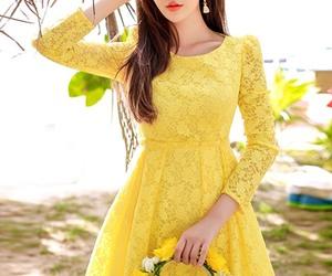 yellow dress, k fashion, and korean style image