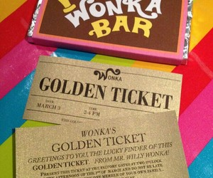 chocolate, colors, and golden ticket image