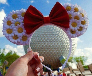 bow, disney, and flowers image