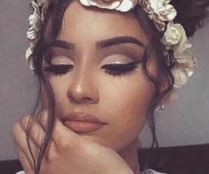 brown hair, makeup, and prett image