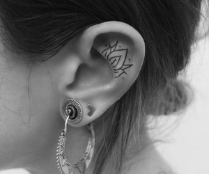 ear tattoo, tattoo, and small tattoo image
