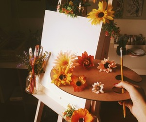 flowers, Brushes, and canvas image