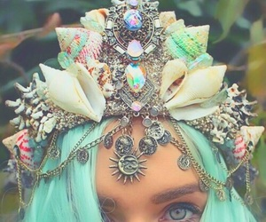 mermaid, crown, and fantasy image