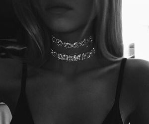 girl, black and white, and choker image