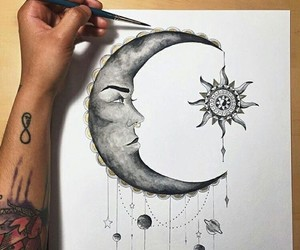 art, moon, and draw image