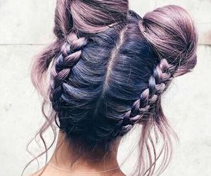hair, braid, and purple image