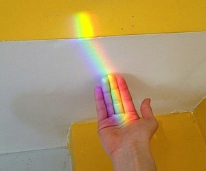 rainbow, hand, and yellow image