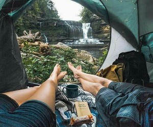 camping, couple, and love image