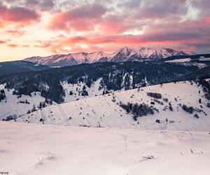 mountains, snow, and sunset image